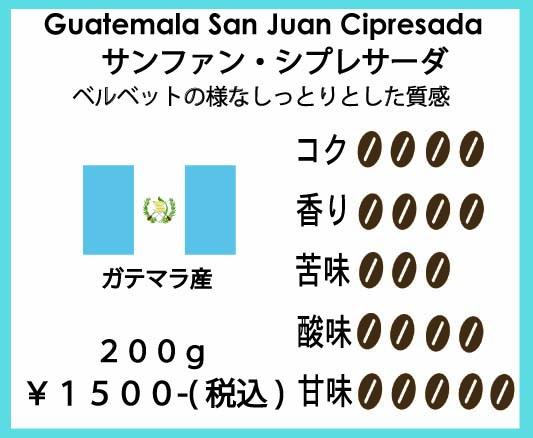 ガテマラ産コーヒー豆サンファン・シプレサーダ